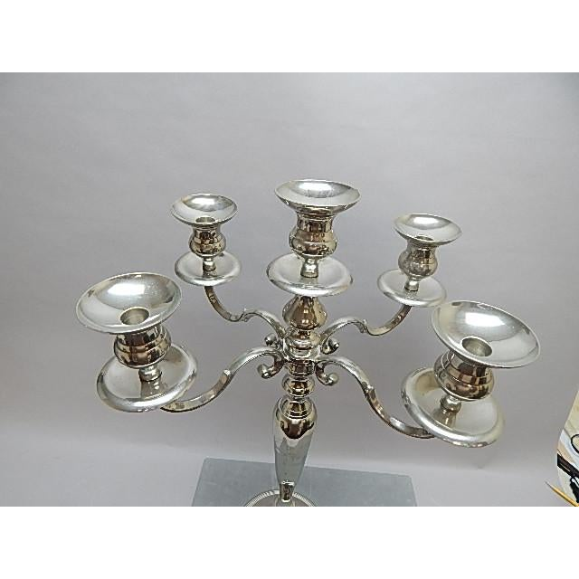Hollywood Regency Large Silver Candelabra With Five Arm Candle Holders For Sale - Image 3 of 5