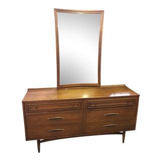 Broyhill Mid Century Modern Sculptra Dresser With Mirror For Sale