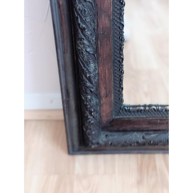 English Antique Framed Wood Mirror For Sale - Image 3 of 5