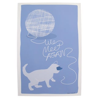 2019 Modern Retro Poster, We Meet Again - Cat and Yarn For Sale