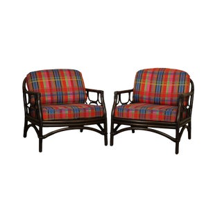 Ficks Reed Vintage Bamboo Rattan Pair Lounge Chairs For Sale