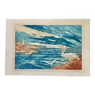 """Vintage """"Spirit of the Stormy Sea With Pelicans """" Original Etching, Signed For Sale"""