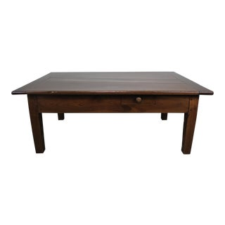 19th C. English Walnut Coffee Table W/ Drawers For Sale