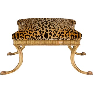 Gilt Wood and Leopard Klismos Style Bench For Sale
