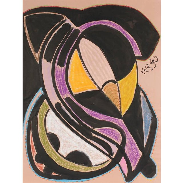 Abstract Modernist Abstract in Ink and Pastel, 1972 For Sale - Image 3 of 3