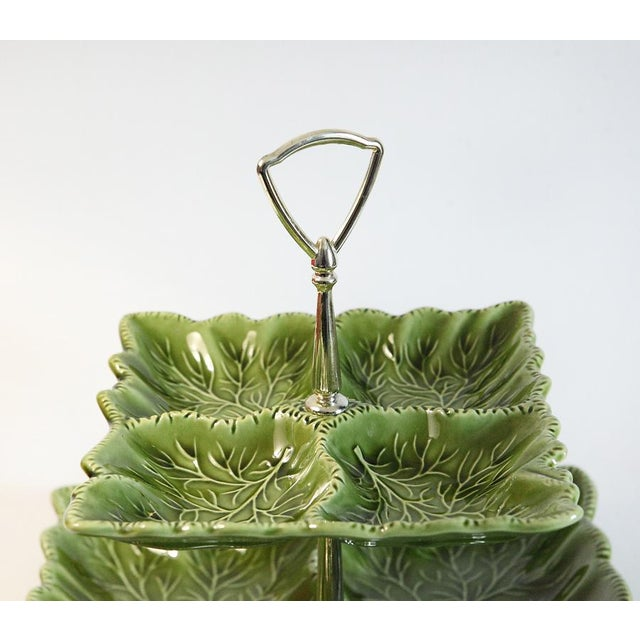 Green Tiered Serving Dish For Sale - Image 4 of 8
