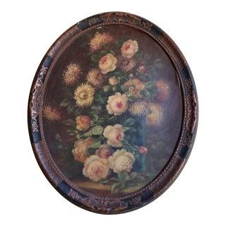 Antique Floral Oil Painting in Original Frame For Sale
