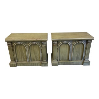Neoclassical Rustic Olive Nightstands - A Pair For Sale