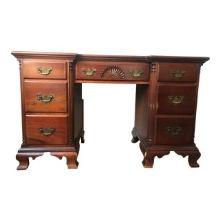 1950s Traditional Kling Furniture Co Solid Mahogany Desk For Sale