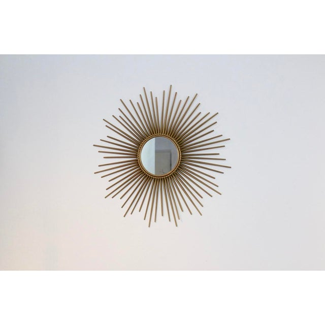 Elegant Gilded Metal Framed Sunburst Mirror by Chaty Vallauris, France 1960s For Sale - Image 6 of 7