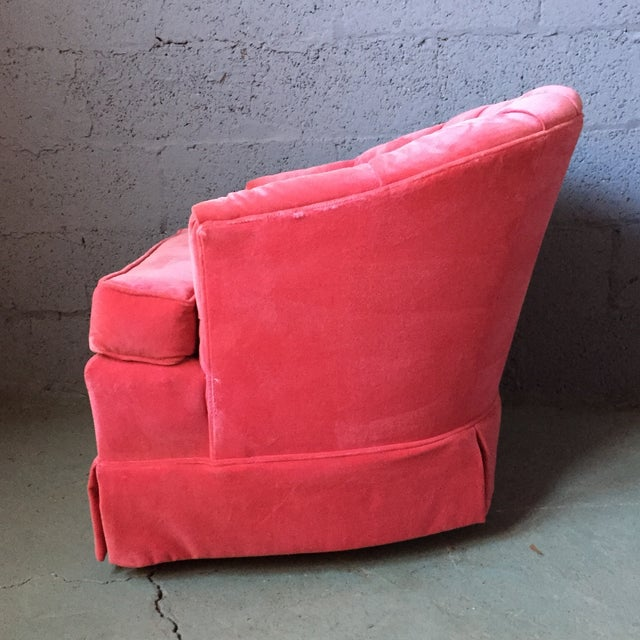 Pink Velvet Tufted Lounge Chairs - A Pair For Sale In Philadelphia - Image 6 of 11