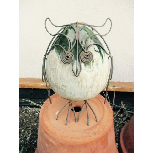 Ceramic Glazed Owl on Wire Stand - Image 10 of 10