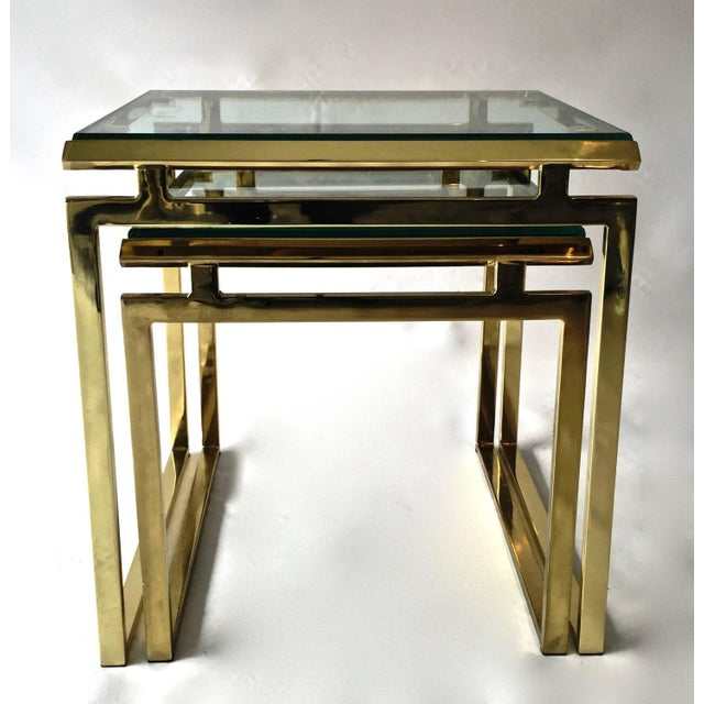 Mid-Century Brass & Glass Nesting Tables - A Pair - Image 6 of 10