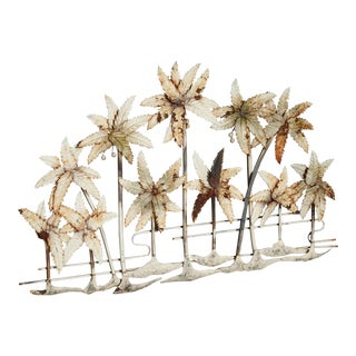 24Hx38 Vintage French Country Metal Wall Decor Picture of Palm Trees Shabby Chic For Sale