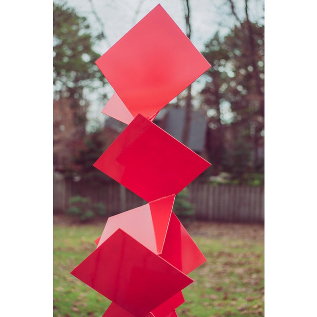 """Not Yet Made - Made To Order Modern Abstract Balanced Gravity """"Sotto"""" Red Steel Sculpture For Sale - Image 5 of 11"""