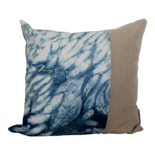 Hand Dyed Indigo Linen Throw Pillow For Sale