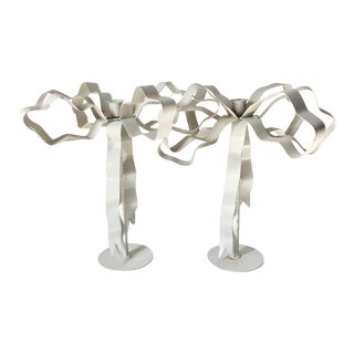 Mid Century Tole Ribbon Candlesticks-A Pair For Sale