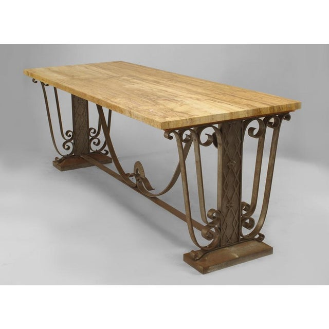 White French Art Deco Large Rectangular Iron Scroll Side Center Table For Sale - Image 8 of 8