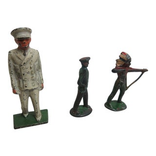 Vintage Lead Toy Lot Military & Native American Figure Antique Toys - Set of 3