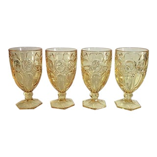 1970s Boho Chic Fostoria Moonstone Yellow Water/Iced Tea Goblets - Set of 4 For Sale