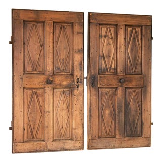 Vintage Doors With Diamond Panels - a Pair For Sale