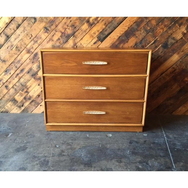 Mid Century Refinished Walnut Dresser by Heritage newly refinished, walnut wood, 2 drawers, top drawers has dividers...