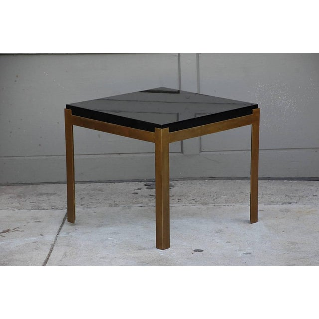 DESIGN FRERES Contemporary Design Frères 'Caisson' Lacquer and Patinated Brass Side Tables - a Pair For Sale - Image 4 of 7