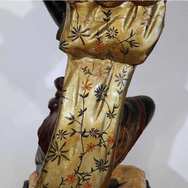 19th Century Italian Carved Polychrome Blackamoor Sculpture With Jardiniere For Sale - Image 10 of 10