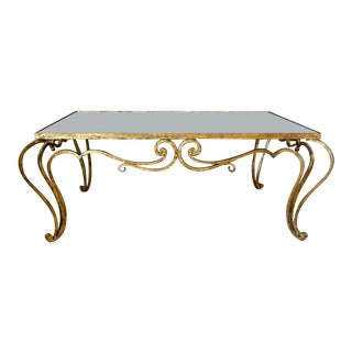 French Iron René Prou Style Cocktail Coffee Table For Sale