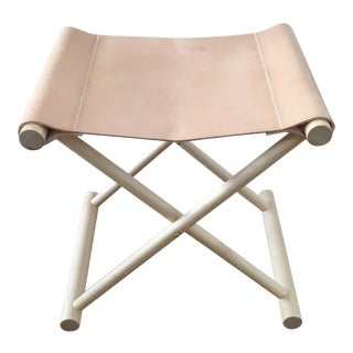 Director's Leather Folding Stool For Sale