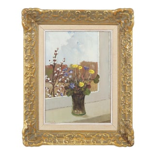 Wildflowers in a Vase by the Window Still-Life by Arvid Östrom For Sale