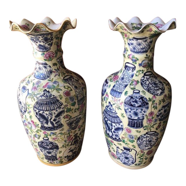 Asian Style Vases - A Pair For Sale