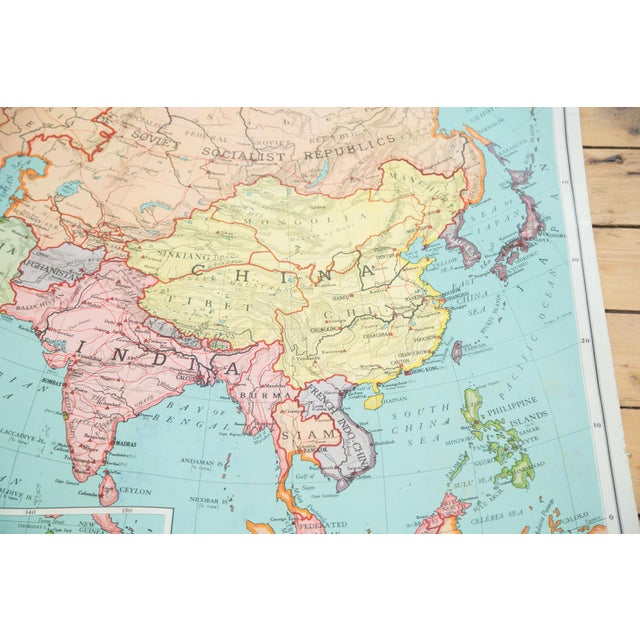 Blue Antique Nystrom Pull Down Map of Asia & Australia For Sale - Image 8 of 9