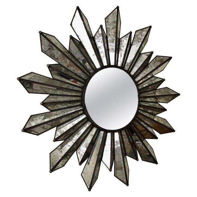 Sunburst Soleil Mirror With Angled Antiqued Mirror Rays For Sale - Image 9 of 9