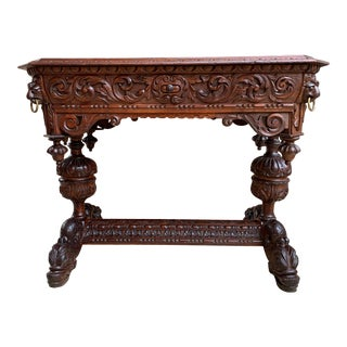 19th Century Renaissance Revival Style French Carved Oak Dolphin Library Table Desk For Sale
