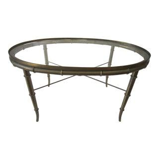 1960s Regency Brass Faux Bamboo Tea Table For Sale