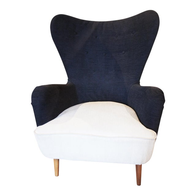 Black and White Club Chair For Sale