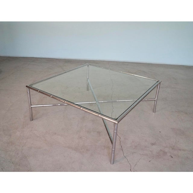 Hollywood Regency 1960s Hollywood Regency Chrome Bamboo Coffee Table For Sale - Image 3 of 13