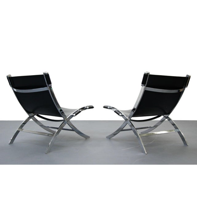 Italian Chrome & Leather Sling Scissor Chairs - A Pair - Image 3 of 8