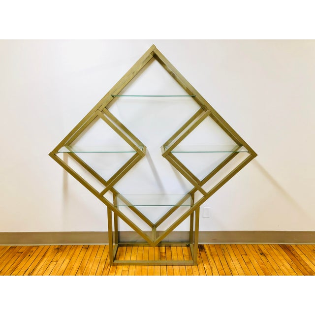 Gold Mid Century Modern Metal and Glass Square Diamond Etagere Attr. Milo Baughman - MCM Shelving Unit Display Plant Stand For Sale - Image 8 of 8