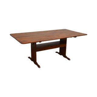 Farmhouse Pine Trestle Base Tilt Top Dining Table For Sale