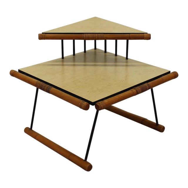 Unique Mid-Mod Rattan & Iron Corner Table 121a For Sale