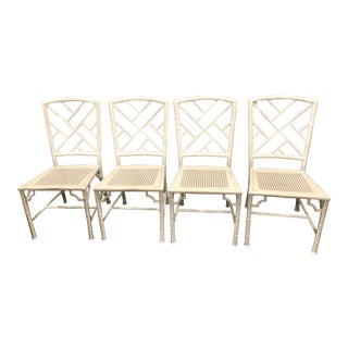 1960s Vintage Meadowcraft Palm Beach Regency Faux Bamboo Chippendale Dining Chairs- Set of 4 For Sale