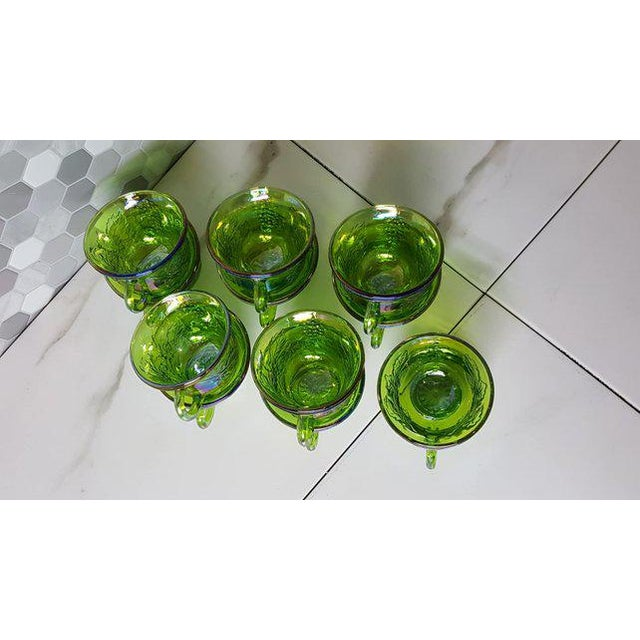 1970s 1970's Vintage Indiana Glass Company of Dunkirk Green Glasses- Set of 11 For Sale - Image 5 of 11
