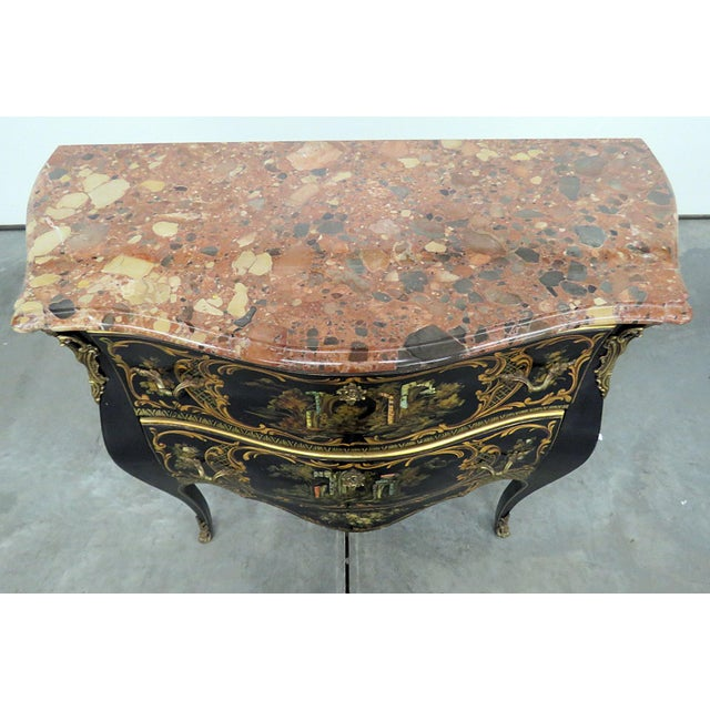 Louis XV Style Chinoiserie Marble Top Bombe Commode For Sale - Image 4 of 10