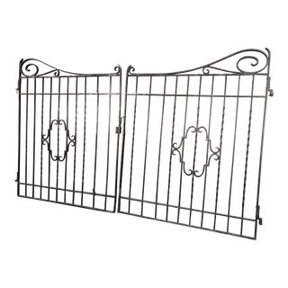 Spanish Black Wrought Iron Driveway Entry Gates - Set of 2 For Sale