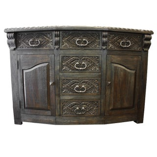 Gothic Louis Handcrafted Solid Wood Buffet Sideboard For Sale