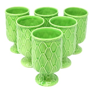 Ceramic Green Footed Cups by Schmid - Set of 6 For Sale