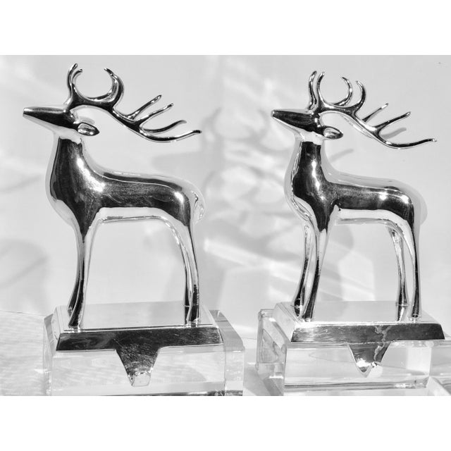 Vintage Solid Reindeer Stocking Hooks Silver Plated Pair For Sale - Image 4 of 10