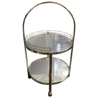 Mid-Century Milo Baughman Style Brass Bar Cart For Sale